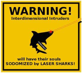 BEWARE LASER SHARKS by deuseldorf