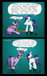 Commission: Twilight's New Collar by Geknebelt