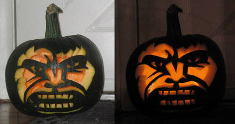 Hulk Smash Puny Pumpkin by admiralducksauce