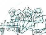 Girls Watching TeeVee by LateCustomer