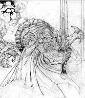 swordman in water1 by DavidCuriel