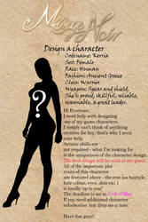 Design a character for 'Mirage Noir' 2 by Noire-Ighaan