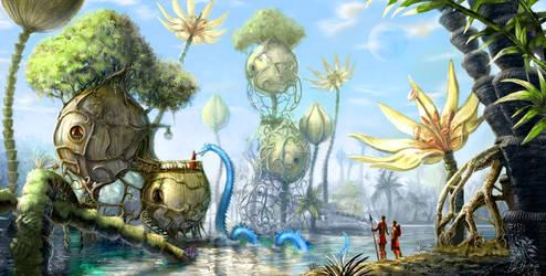 Fantasy Landscape by Deevad