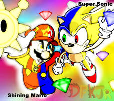 Shining Mario and Super Sonic by DFKJR