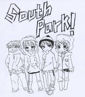 south park gang -uncolored- by darkscarygothicotaku
