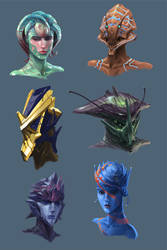 Alien Head Concepts by Phill-Art