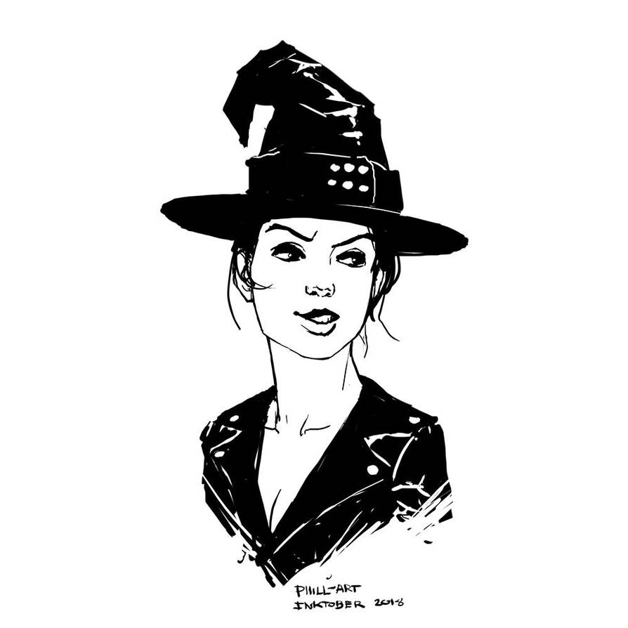 Inktober Bad Ass Witch by Phill-Art