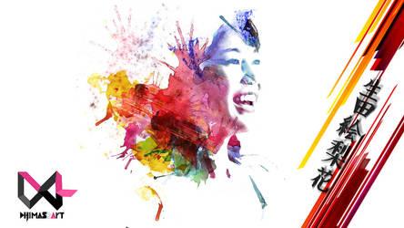 Ikuta Erika   Watercolor Splash Art by DRART by dhimasrm