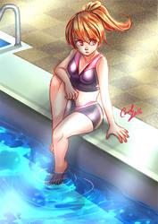 Girl in pool by carolriverart