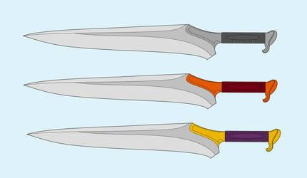 Three asymmetrical fantasy daggers by SkyfireDragon