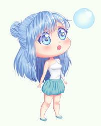 Chibi of My OC Mascot by BlueBubble83
