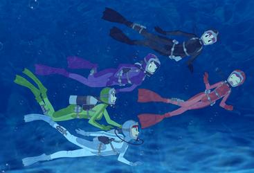 Aqua Kimono Girls by ZeFrenchM