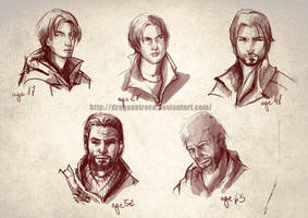 Ezio Auditore sketches - different ages by DragonsTrace