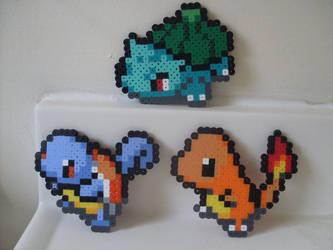 Pokemon: Perler Bead Kanto Starters by heatbish