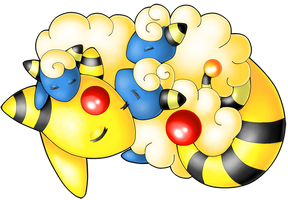 Pokemon - Ampharos and the Fluffy Mareep Blanket by heatbish