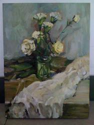 flowers copy work oil painting by Hongqian