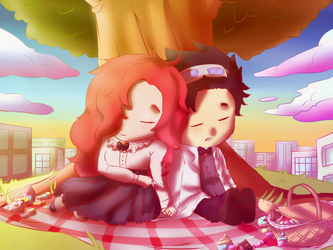 Art trade Autum and Eli by LeLumy