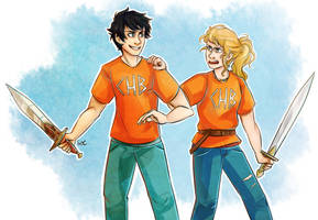 Percy and Annabeth by SixofClovers