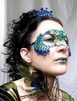 Peacock masquerade mask and tiara by gringrimaceandsqueak