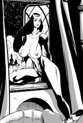 Lilith Drake (b/w) by OneSheepArmy