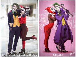 Harleys Joker and Jokers Harley Cosplay by ArtistAbe
