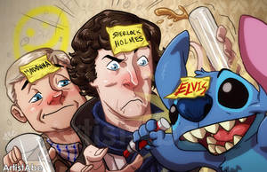 Madonna, Sherlock And Elvis by ArtistAbe