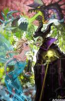 Elsa vs Maleficent by ArtistAbe