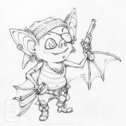 Pip the Cabin bat linework by yvash
