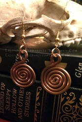 Copper Spiral Earrings by soulspoison