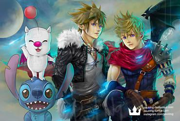 Kingdom Hearts - Sora, Roxas as Squall, Cloud by pauldng