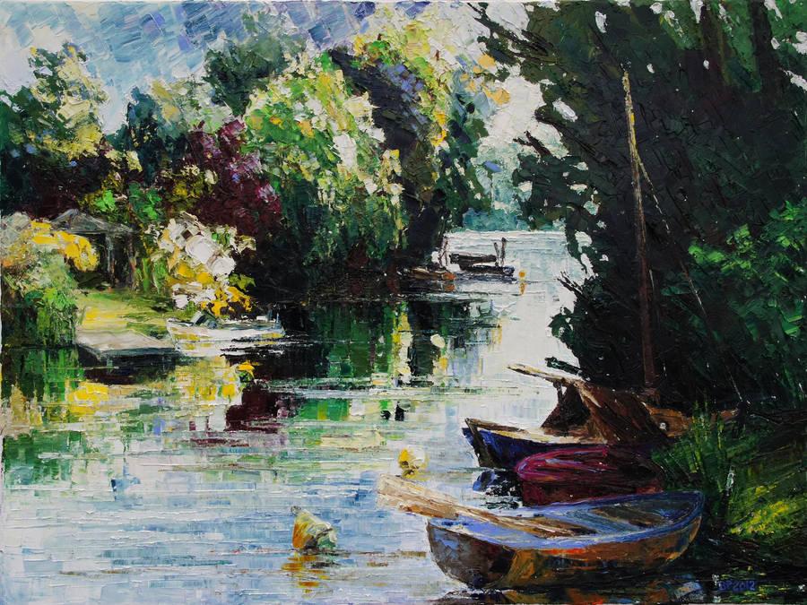 Summer At The Creek Fischerbruch In Rostock by BarbaraPommerenke