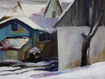 Barnstable With Blue Shutters In Winter by BarbaraPommerenke