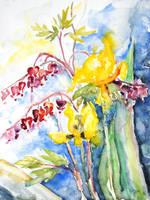 Bleeding Heart And Tulips by BarbaraPommerenke
