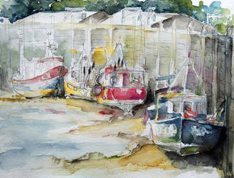Fishing Boats Settled Aground During Ebb Tide by BarbaraPommerenke