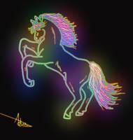 Neon horse by Adutelluma