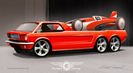 Mustang Hauler and Race Car by GaryCampesi