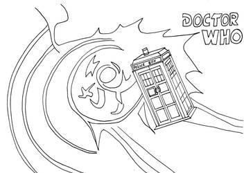 Dr Who Tardis Line Art by whitestarflower