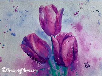 Purple Tulips by DrawingMom