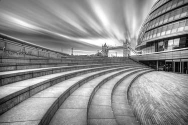 London Town Hall and Tower Bridge Black and White by dynamick