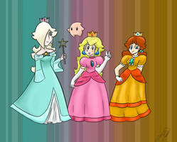 Peach Daisy and Rosalina by Lumatora