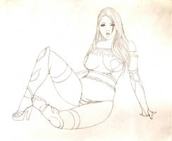 Lady Warrior Pencil Drawing by DiegoRT
