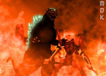 Unit-02 vs. Godzilla by OrbitalWings