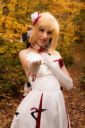 Crane dress Saber 5 - Care to join me, master? by simakai