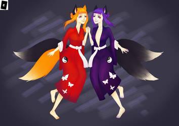 Kitsune Erine and Merine by Grego15861