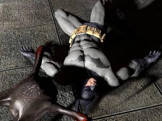 Alien attack Batman by nedved956