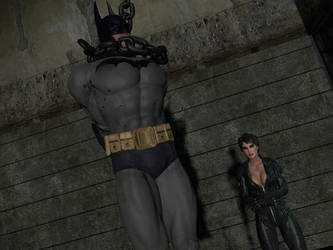 Batman chained and defeated. by nedved956