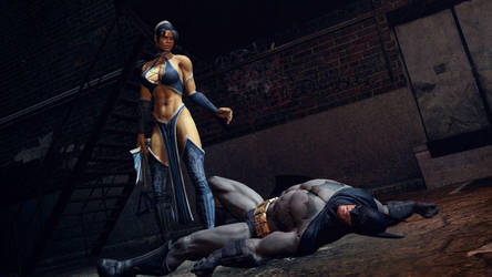 Kitana defeats Batman by nedved956