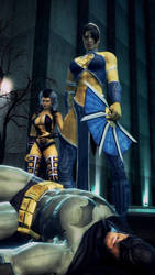 Sindel and Kitana defeats Batman by nedved956