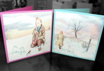 Pair of Tintin Christmas cards by Wainyman