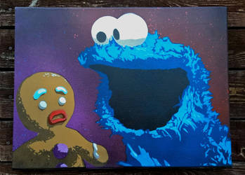Cookie Monster and Gingerbread Man by Szykielet